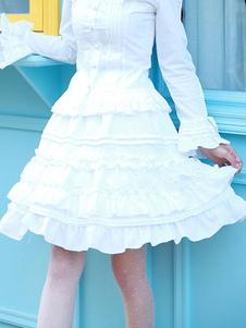 Image of Gonna Lolita classico & tradizionale cotone pieghettature monocolore neverland