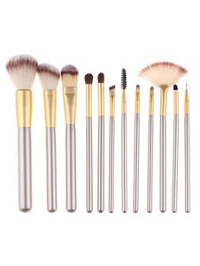 Set de pinceles de maquillaje Fibras sintéticas de color champaña 12de madera