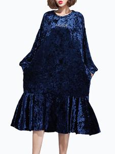 Magnétique robe droite confortable en velours de soie bleu imprimé lettres surdimensionné brodé col rond