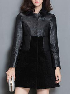 Cappotto nero chic & moderno monocolore in cuoio poliuretano tasche