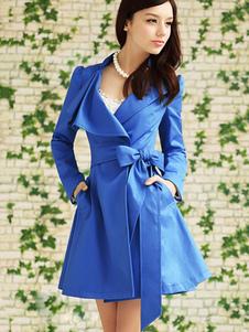 Image of Cappotto blu snellente vintage monocolore di poliestere cintura