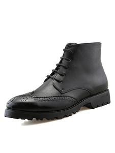 Boots pratiques homme en PU noir unicolore