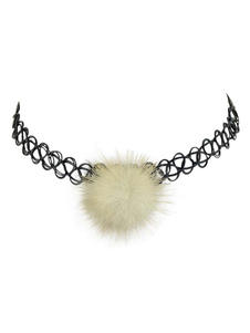 Image of Collana girocollo in choker con pom pom in chiffon