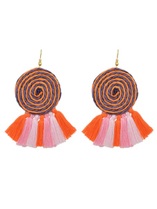 Image of Orecchino da donna Nappa Orecchino a blocchi di colore etnico Arancione ciondola l'orecchino
