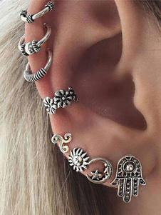 Image of Set di orecchini in metallo con orecchino etnico impresso in arg