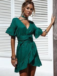 Image of Abito verde donna Abito estivo avvolgente Abito scollo a V a maniche corte con girocollo
