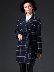 Image of Cappotto blu Marino Scuro chic & moderno quadrettato tweed tasch