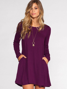 robe T-shirt en fibres de coton col rond vêtements journaliers manches longues