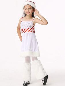 Disfraz de Mama Noel de piel sintética blanca de dos tonos