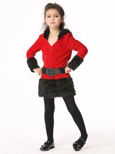 Disfraz de Mama Noel de algodón roja de dos tonos