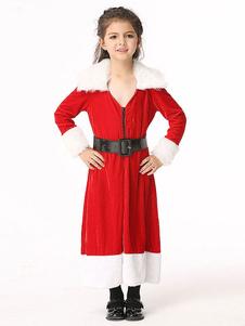 Disfraz de Mama Noel de terciopelo roja bonita de dos tonos