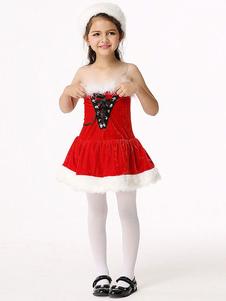 Disfraz de Mama Noel de terciopelo color roja de dos tonos