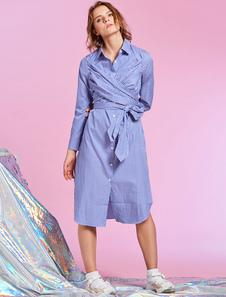 Image of Abito a camicia da donna Vestito a righe blu con maniche lunghe a costine