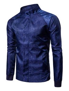 Abrigo Chaqueta 2018 de Hombre Azul Real Primavera Escote de Pies Mangas Largas cachemir Estampado Zip Up Chaqueta Corta