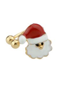 Image of Orecchini donna orecchino di Babbo Natale bianco in rilievo con fiocco in lega bianca