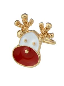 Image of Orecchini a clip in oro per donna con clip a forma di renna natalizia in rilievo