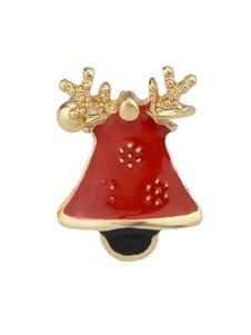 Image of Orecchini da donna con chiusura a forma di campana in oro e ghiera rossa