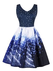 Image of Abito vintage da donna\, anni '50\, abito longuette\, scollo a V blu\, abito stampato a neve