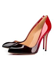 Image of Scarpe con tacchi alti borgogne pU con sfumature tacco a fino 12cm a punta donna