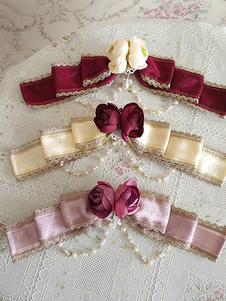 Image of Spilla Lolita Infanta dolce Rosa Fucsia bicolore a fiori accessori Spilla con perle Tea party