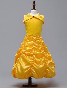 Belle Princess Costume Kids Cosplay Dress La Bella y la Bestia Girls Disfraces Amarillos Halloween