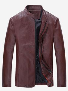 Abrigo de cuero con escote Ilusión Color liso estilo moderno