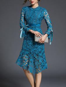 Image of Abiti in pizzo Blu Oceani donna maniche lunghe con scollo tondo