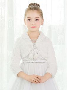 Image of Coprispalle da sposa accessori avorio con pendenti con colletto ampie maniche maniche a 3/4