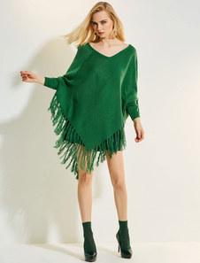 Capa estilo moderno Color liso informal de mezclada de lana con cuello en V para ocasión informal
