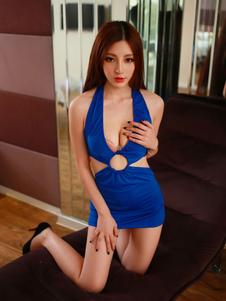 Image of Vestito da discoteca blu monocolore sexy di poliestere