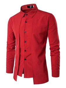 Image of Camicia casual da uomo 2019 rossa Camicia da notte manica lunga