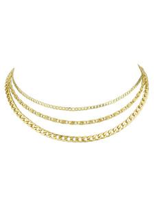 Image of Collana in lega a più strati con catena in oro