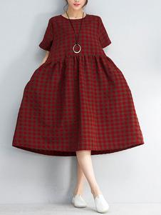 Attrayante robe droite confortable en coton rouge écossais surdimensionné col rond