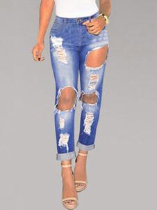 Image of Blu strappato Jeans rotto Distressed Denim Jeans per le donne
