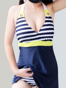 Image of Costume da bagno blu cadetto a strisce chic moderno in lycra spandex per le vacanze