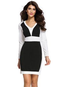 Image of Cerniera di colore blocco vestito aderente Slim Fit poliestere Mini abito