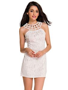 Image of Tagliare vestito aderente bianco pizzo poliestere Club Dress