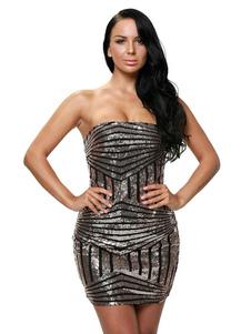 Image of Abiti da cocktail di paillettes Club abito corto senza spalline donna Sexy
