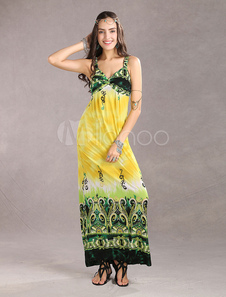 Image of Spaghetti Meryl Graceful Yellow Floral Maxi Dress Ladies