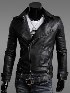 Image of Giacca da moto 2019 in pelle nera da uomo