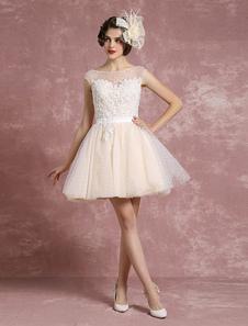 Robe de mariée Vintage Illusion Sweetheart robe de mariée courte Tulle Polka Dot perler une ligne sans manches Mini robe nuptiale