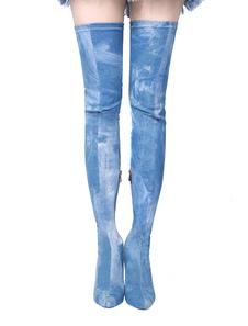 Blue Stretch Botas de tacón alto de las mujeres sobre la rodilla punta Toe Thigh Botas altas