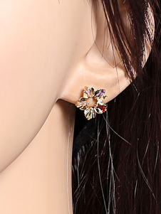 Image of Monili multicolori delle donne degli orecchini del petalo della lega degli orecchini del fiore