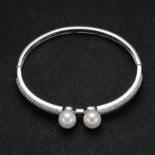 Image of Braccialetto di perline argento braccialetto bracciale doppia perla donna zirconi