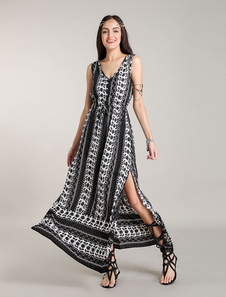 Image of Abiti Maxi Boho Navy Stampa floreale Bohemian Dress Fronte fodge abiti estivi
