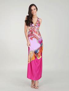 African Prints Vestidos Maxi Vestido Floral Recortar Vestido de fiesta de diseño trasero