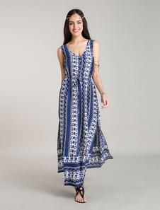 Image of Abiti Maxi Bohemian abiti floreali blu Boho vestiti estivi fessure laterali