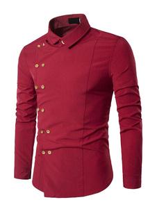 Image of Camicia uomo rossa Camicia manica lunga irregolare a doppio pett