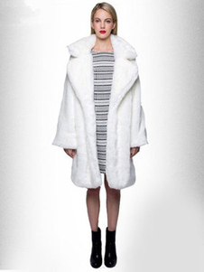 Image of Cappotto di pelliccia ecologica bianco di pelle sintetica manich