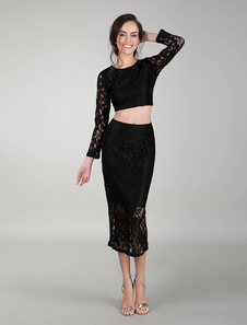 Image of Tailleur due pezzi crop top con maniche lunghe gonna lunga in pi